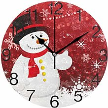 Christmas with Snowflakes Round Wall Clock, Silent