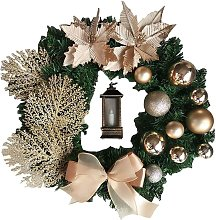 Christmas Wreath Artificial Flowers Champagne 38cm