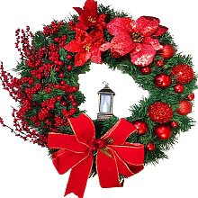 Christmas Wreath Artificial Flowers Red 25cm