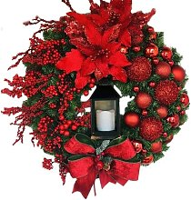 Christmas Wreath Artificial Flowers Red 43cm