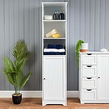 CHRISTOW Tall Bathroom Cabinet, Wooden White