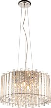 Chrome Ceiling Pendant with Clear Crystals & 5