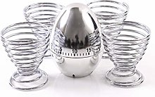 Chrome Egg Cup & Timer Set - Silver Finish