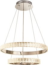 Chrome Pendant Light with Crystals & Rings -