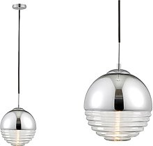 Chrome Pendant Light with Ribbed Glass Shade -