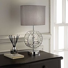 Chrome Table Lamp with Silver Grey Shade and