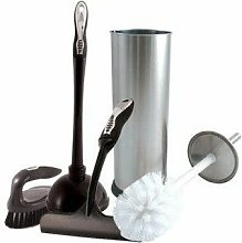 Chrome Toilet Brush Cleaning Set - Silver -