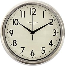 Chrome Wall Clock with Cream Face and Black
