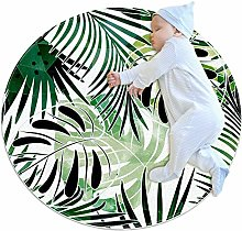 chuangxin Green Monstera Abstract Kitchen rug