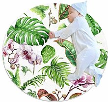 chuangxin Green Monstera White Kitchen rug