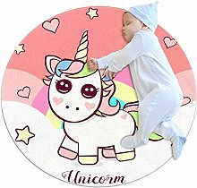chuangxin Pink Cute Unicorn Kitchen rug washable