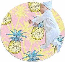 chuangxin Pink Pineapple Yellow Kitchen rug
