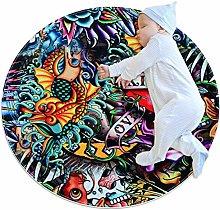 chuangxin Sugar Skull Mermaid Kitchen rug washable