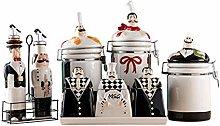 CHUNGEBS Ceramic Seasoning Jar Set of 8, Spice