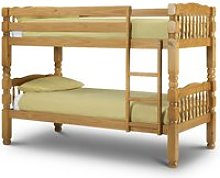 Chunky Antique Solid Pine Wooden Bunk Bed Frame -