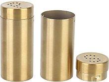 CHUNYU 2Pcs Salt and Pepper Shakers, Gold Salt