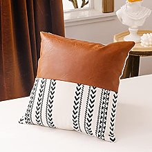 CHYSP Brown Faux Leather Cotton Cushion Cover
