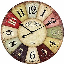 CIFFOST Silent quartz clock, wooden kitchen clock