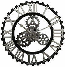 CIFFOST Wooden retro gear wall clock, non-ticking