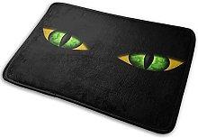 CIKYOWAY Bathroom Mat Black Cat In Dark Green