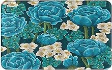 CIKYOWAY Bathroom Mat Blossom Rose Flower Abstract