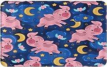 CIKYOWAY Bathroom Mat Cartoon Pig And Moon,Door