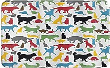 CIKYOWAY Bathroom Mat Colorful Cats And Dogs