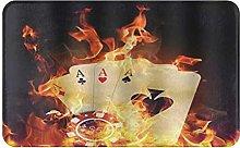CIKYOWAY Bathroom Mat Crazy Fire Poker Dice,Door