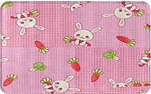 CIKYOWAY Bathroom Mat Cute Rabbit And Carrot,Door