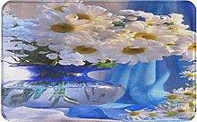 CIKYOWAY Bathroom Mat Daisy Vase Flowers