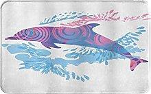 CIKYOWAY Bathroom Mat Dolphin With Colorful