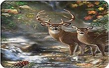 CIKYOWAY Bathroom Mat Elk Forest Mystery,Door Mat