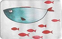 CIKYOWAY Bathroom Mat Fish With Little Underwater
