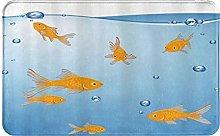 CIKYOWAY Bathroom Mat Fun Blue Orange