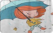 CIKYOWAY Bathroom Mat Girl With An Umbrella,Door
