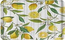 CIKYOWAY Bathroom Mat Orange Lemon Green Leaves