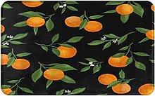 CIKYOWAY Bathroom Mat Oranges With Green Leaves