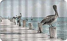 CIKYOWAY Bathroom Mat Pelicans On Wood Of Bridge