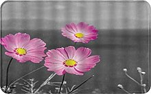CIKYOWAY Bathroom Mat Pink Daisy Flower Gray