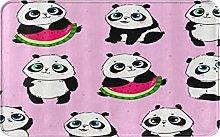 CIKYOWAY Bathroom Mat Pink Panda And Watermelon
