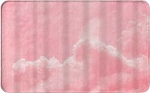 CIKYOWAY Bathroom Mat Pink Sky Background White