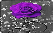 CIKYOWAY Bathroom Mat Purple And Grey Rose Grey
