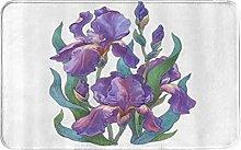 CIKYOWAY Bathroom Mat Purple IrisDesign,Door Mat