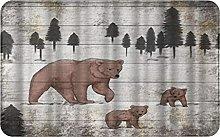 CIKYOWAY Bathroom Mat Rustic Mom And Baby Bears