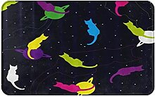 CIKYOWAY Bathroom Mat Space With Colored Cats
