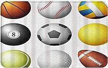 CIKYOWAY Bathroom Mat Sports Balls On White