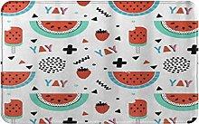 CIKYOWAY Bathroom Mat Summer Watermelon,Door Mat