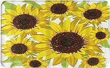 CIKYOWAY Bathroom Mat Sunflower Pattern,Door Mat