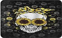 CIKYOWAY Bathroom Mat Sunflower Skull,Door Mat