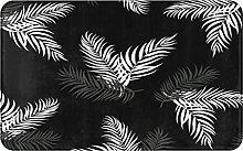 CIKYOWAY Bathroom Mat Tropical Floral Black And